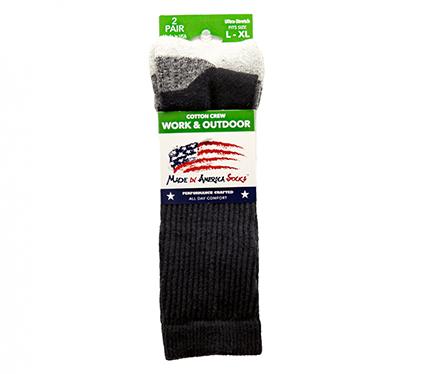 Black Cotton Crew - Sock Size L/XL - Shoe Size - 6 to 16