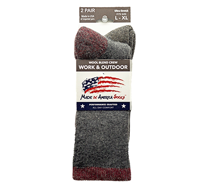 Wool Blend Crew — Charcoal / Cardinal / Coyote Brown